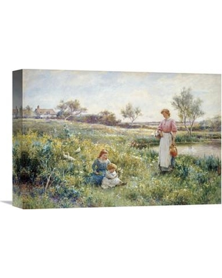 """Global Gallery 'Summer Flowers' by Alfred Augustus Glendening Painting Print on Wrapped Canvas GCS-266394-142 Size: 15.14"""" H x 22"""" W x 1.5"""" D"""