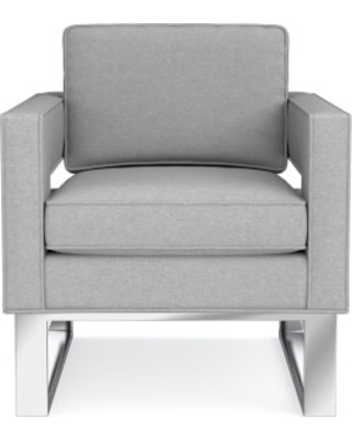 Minato Occasional Chair, Standard Cushion, Perennials Performance Canvas, Charcoal, Polished Nickel