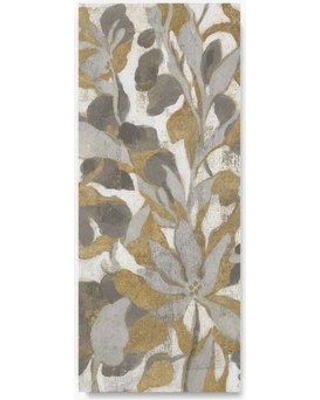 """Trademark Fine Art 'Painted Tropical Screen I Gray Gold Crop' Acrylic Painting Print on Wrapped Canvas WAP03255-C Size: 32"""" H x 14"""" W"""