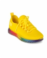 Wanted Women's Affinity Lace Up Rainbow Sole Sneakers - Yellow