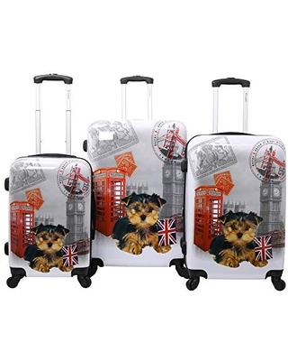 Chariot Doggie 3-piece Expandable Hardside Lightweight Spinner Luggage Set-Uk, One Size