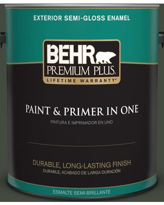 BEHR Premium Plus 1 gal. #BXC-12 Deep Forest Semi-Gloss Enamel Exterior Paint and Primer in One