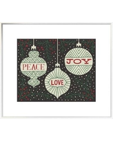 "East Urban Home 'Jolly Holiday Ornaments Peace Love Joy' Textual Art EUHG4871 Size: 21.6"" H x 25.6"" W, Matte Color: No Matte, Format: Framed Canvas"