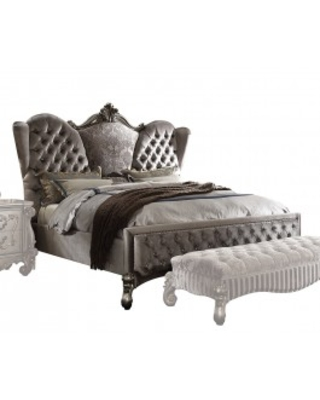 Acme versailles california king bed in antique silver 26814ck