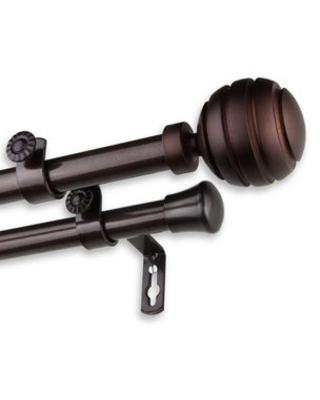 InStyleDesign Piper Adjustable Double Curtain Rod (48 to 84 inch - Cocoa)