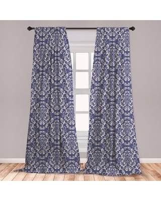 "Renaissance Floral Room Darkening Rod Pocket Curtain Panels East Urban Home Size per Panel: 28"" x 84"""