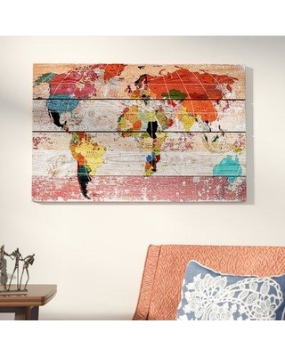 "World Menagerie World Map Painting Print on Wrapped Canvas WDMG4316 Size: 12"" H x 18"" W x 1.5"" D"