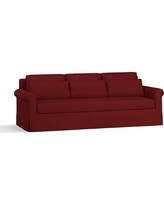 "York Roll Arm Slipcovered Deep Seat Grand Sofa 98"" with Bench Cushion, Down Blend Wrapped Cushions, Twill Sierra Red"