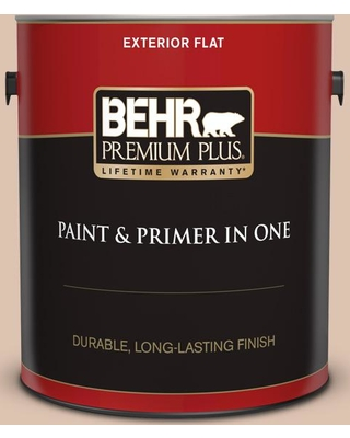 BEHR Premium Plus 1 gal. #N250-2A Bali Sand Flat Exterior Paint and Primer in One