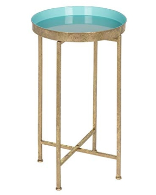 """Kate and Laurel Celia Round Foldable Tray Accent Table, 14"""" x 14"""" x 25.75"""", Light Teal and Gold, Modern Minimalist Design and Magnetic Tabletop"""