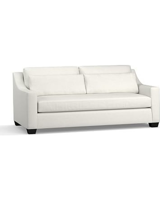 """York Slope Arm Upholstered Deep Seat Sofa 80"""" with Bench Cushion, Down Blend Wrapped Cushions, Basketweave Slub Ivory"""