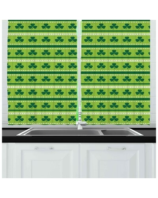 Traditional Irish Pattern Clovers Happy St. Patrick's Day Theme Kitchen Curtain East Urban Home