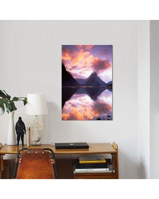 "East Urban Home 'Mitre Peak at Sunset Milford Sound Fiordland National Park New Zealand' Graphic Art Print on Canvas ERBH2857 Size: 18"" H x 12"" W x 1.5"" D"