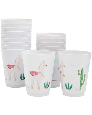 16-Pack Reusable Party Cups, Llama Cactus Plastic 9 oz Cup for Kids Birthday Parties, White (White)