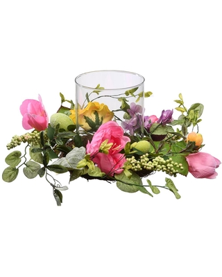 National Tree Company 16 in. Candle Holder with Pink Roses, Hydrangeas, Eggs and Berries, glass