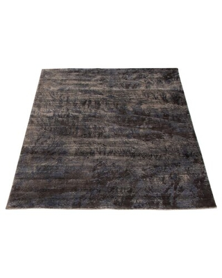 """One-of-a-Kind Woodsen Hand-Knotted 2010s Transitional Gray 4'10"""" x 7'3"""" Viscose Area Rug Williston Forge"""