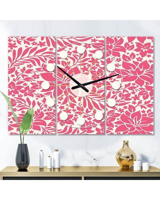 Designart 'Retro Abstract Flower Design II' Oversized Mid-Century wall clock - 3 Panels - 36 in. wide x 28 in. high - 3 Panels (36 in. wide x 28 in.