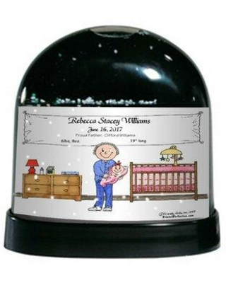 Shopping Special For The Holiday Aisle Friendly Folks Cartoon Caricature Single Dad New Baby Girl Snow Globe Customize Yes Plastic In Black Size 4 H X 4 W X 3 D