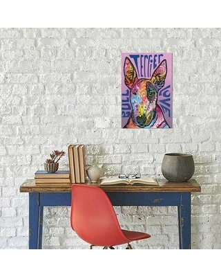 """East Urban Home Dean Russo 'Bull Terrier Love' Graphic Art Print on Wrapped Canvas EBIC3558 Size: 26"""" H x 18"""" W x 0.75"""" D"""