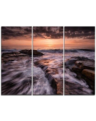 Design Art Exotic Flow of Waters over Rocks - 3 Piece Graphic Art on Wrapped Canvas Set PT10706-3P