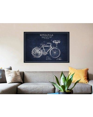 """East Urban Home 'Floyd Bingham Motorcycle Patent Sketch' Graphic Art Print on Canvas in Navy Blue ERBR0074 Size: 18"""" H x 26"""" W x 0.75"""" D"""