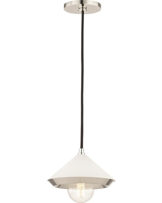 Mitzi by Hudson Valley Lighting Marnie 1-Light Polished Nickel Small Pendant with White Shade