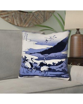 Don T Miss Deals On Bloomsbury Market Montreal Japanese Cranes Square Indoor Outdoor Throw Pillow Pillow Cover Polyester Polyfill Polyester Polyester Blend In Blue