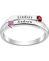 Personalized Women's Sterling Silver or Gold over Silver Engraved Double Name and Genuine Birthstone Ring