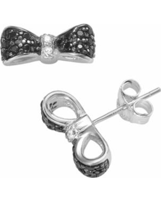 Sophie Miller Sterling Silver Black and White Cubic Zirconia Bow Stud Earrings, Women's