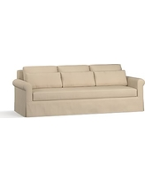 "York Roll Arm Slipcovered Deep Seat Grand Sofa 98"" with Bench Cushion, Down Blend Wrapped Cushions, Twill Parchment"