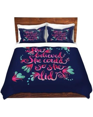20f24ad2 House of Hampton Witty Zara Martina She Believed Navy Microfiber Duvet  Covers HSHM1581 Size: Queen