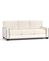 Turner Square Arm Upholstered Sleeper Sofa with Robin Mattress & Bronze Nailheads, Polyester Wrapped Cushions, Denim Warm White