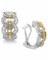 Duo by Effy Diamond Hoop Earrings (1-1/5 ct. t.w.) in 14k Gold and White Gold - Two-Tone