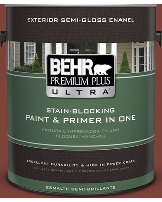 BEHR ULTRA 1 gal. #S-H-160 Sly Fox Semi-Gloss Enamel Exterior Paint and Primer in One