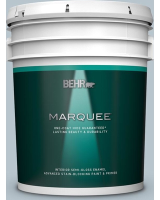 BEHR MARQUEE 5 gal. #N480-2 Flowing Breeze Semi-Gloss Enamel Interior Paint and Primer in One