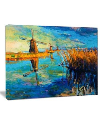 """Design Art Windmills with Sky and Water Landscape Painting Print on Wrapped Canvas PT6384- Size: 30"""" H x 40"""" W"""