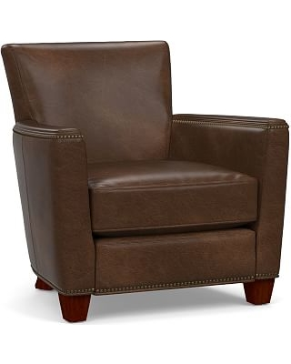 Irving Square Arm Leather Recliner with Bronze Nailheads, Polyester Wrapped Cushions, Vintage Cocoa