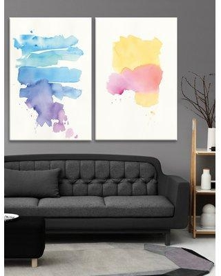 Ivy Bronx 'Waterslide Sunrise' 2 Piece Watercolor Painting Print Set on Canvas W000031321 Format: Wrapped Canvas