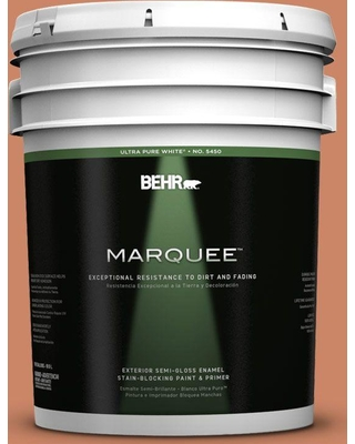 BEHR MARQUEE 5 gal. #230D-5 Aztec Brick Semi-Gloss Enamel Exterior Paint and Primer in One