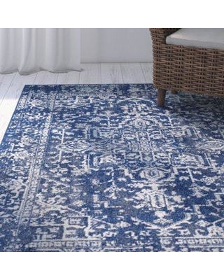 "Mistana™ Hillsby Oriental Polypropylene Navy Area Rug, Polypropylene in Blue/Navy, Size Rectangle 3'11"" x 5'7"" 