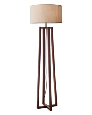 Adesso® Quinn Floor Lamp in Walnut with Fabric Shade