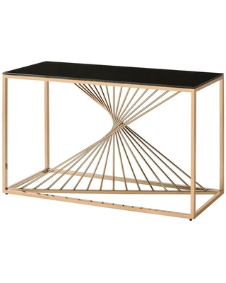 Furniture of America Andromeda 47.25 in. Gold Rectangular Glass Top Console Table