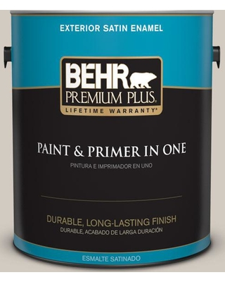 BEHR Premium Plus 1 gal. #N320-2 Toasty Gray Satin Enamel Exterior Paint and Primer in One