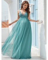 Milanoo Evening Dress Cyan Blue A-Line V-Neck Sleeveless Tulle Floor-Length Lace Formal Party Dresses