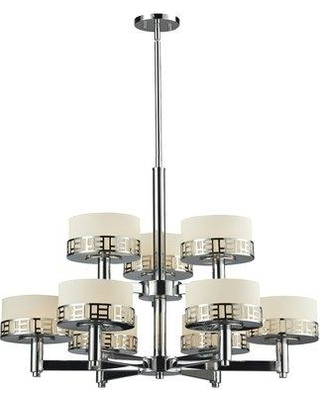 Spectacular Deals On Bloomsbury Market Wessel 9 Light Shaded Tiered Chandelier Cmnt4082 Finish Chrome