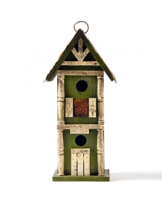 Glitzhome® Tall 2-Tiered Distressed Wood Hand Painted Bird House | Michaels®