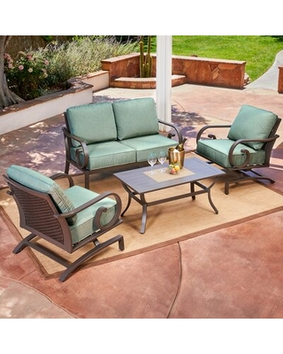 Get This Deal On Kingston Seymour 4 Piece Sofa Seating Group With Cushions Bayou Breeze Cushion Color Teal