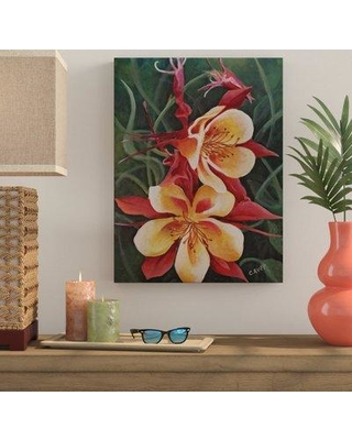 """Bay Isle Home 'Red and Yellow Columbine' Acrylic Painting Print on Wrapped Canvas BYIL5495 Size: 32"""" H x 24"""" W x 2"""" D"""