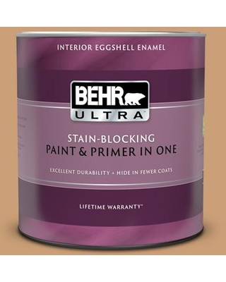 BEHR ULTRA 1 qt. #ICC-62 Pumpkin Butter Eggshell Enamel Interior Paint and Primer in One