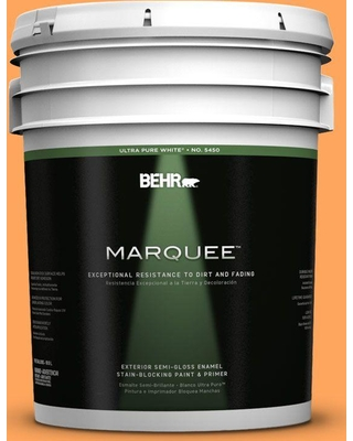 BEHR MARQUEE 5 gal. #270B-5 Melon Semi-Gloss Enamel Exterior Paint and Primer in One